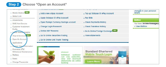 Online banking landing page, choose open an account on the left hand side