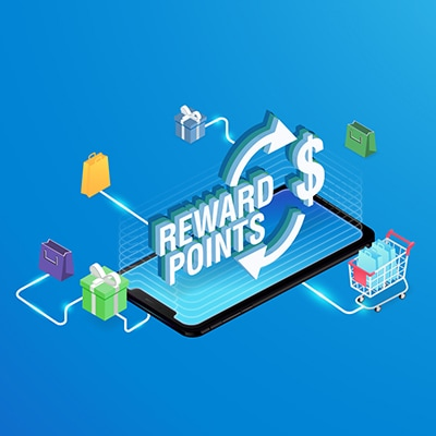 "cartoon of a mobile phone showing ""Reward Points"" and surrounded by multiple functions icons"