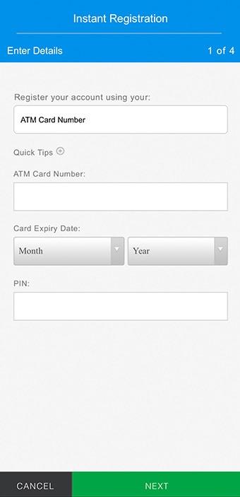 Standard Chartered Digital Banking Registration - SC Mobile Version Step 4 - Register with ATM Card