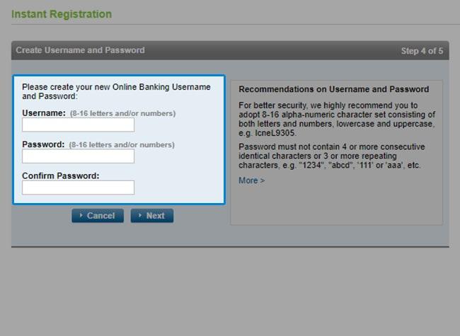Standard Chartered Digital Banking Registration - Web Version Step 6