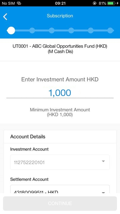 Entering investment amount and account details