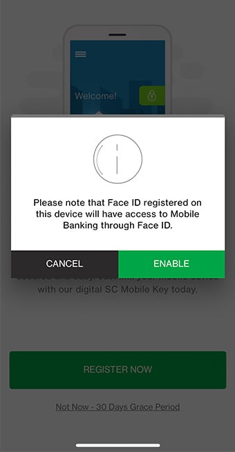 Enable Face ID feature to complete registration