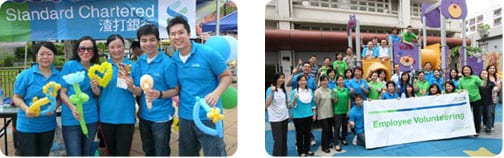 photoshoots of Standard charatered employees participating in voluntary work events