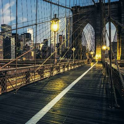 Stock photo brooklyn bridge by night