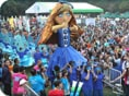a dummy doll in blue dress, in a parade of standard chartered marathon