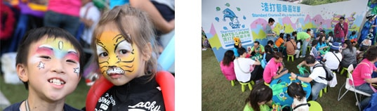 在渣打藝趣嘉年華上,小孩們塗上不同的面繪