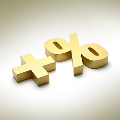 """金色的""""+""""與""""%""""符號"""