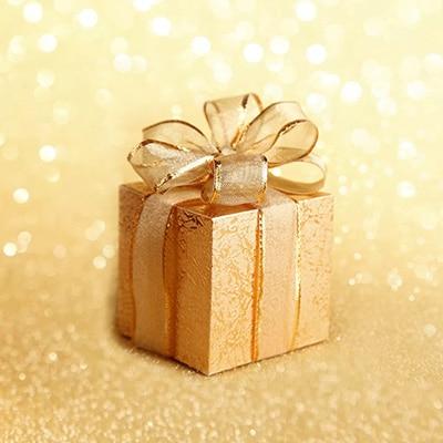 金色的背景襯托著金色禮物箱