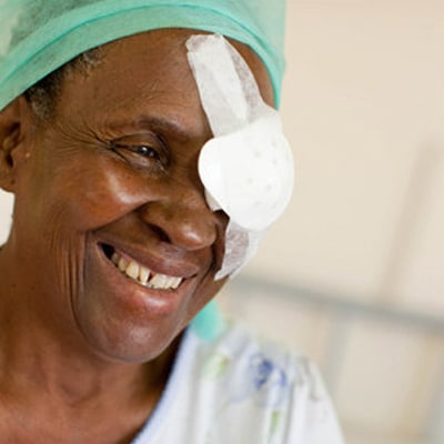 Patient with bandaged eye x note image supplied too small