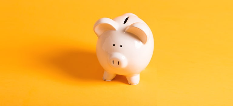 Ng white piggy bank on yellow x y