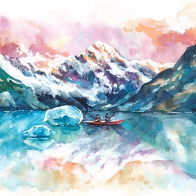 A painting of a kayak